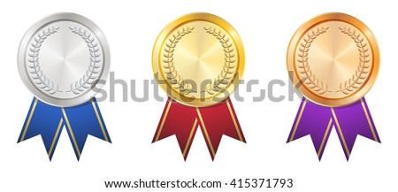 A Gold Silver Bronze badge - stock vector