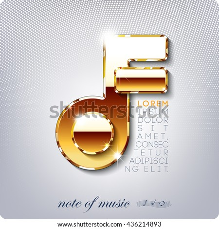A golden musical note. Cover music hit parade, chart, collection. eps10. - stock vector