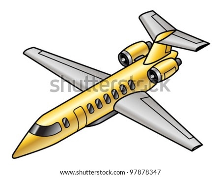 A golden private business jet. - stock vector