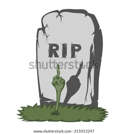 """A gray gravestone with grass and RIP text and scary fingers from the grave (showing the international """"fuck off"""" sign) - stock vector"""