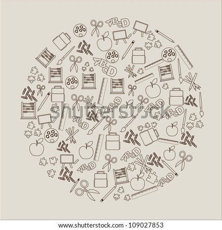 a great circle formed by elements school - stock vector