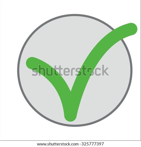 A green check mark in a gray circle. - stock vector