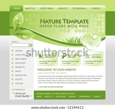 A green, eco, nature environmental web template with a header and navigation. There are leafs and water drops of moisture in the top with grass. Use for your business. - stock vector