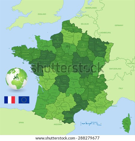 A Green High Detail vector Map of France with administrative divisions and major cities, with a 3D Globe centered on France and both Eu and France flags. - stock vector