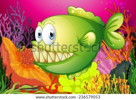 A green piranha under the sea - stock vector