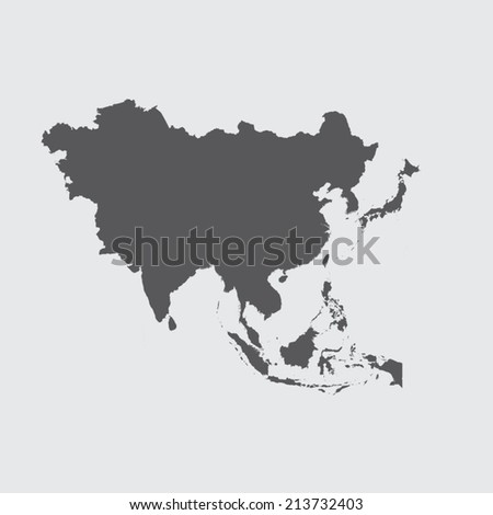 A Grey Illustration of the outline of the continent of Asia - stock vector