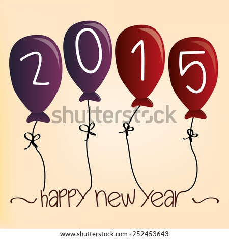 a group of balloons and text for new year - stock vector