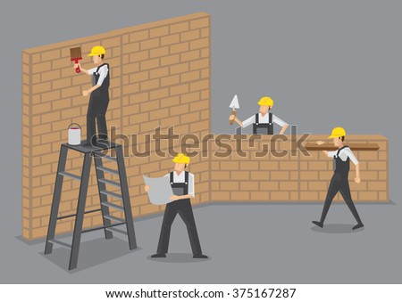 A group of builders working at construction site. Cartoon vector illustration isolated on plain grey background.  - stock vector