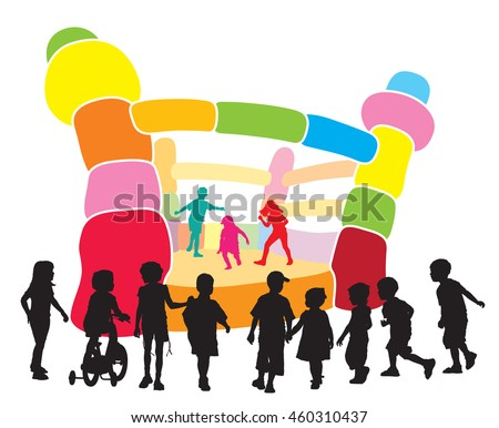A group of children playing in an inflatable castle. - stock vector