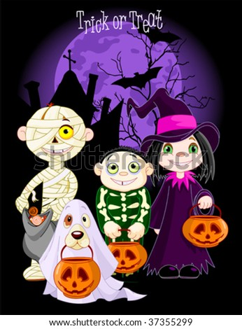A group of cute kids and dog, dressed up to trick or treat on Halloween night. All characters on separate layers - stock vector