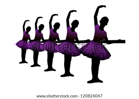 a group of girls at the ballet school - stock vector