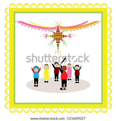 a group of kids hitting a pinata isolated - stock vector