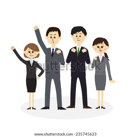 A group of newbie employees, vector illustration - stock vector