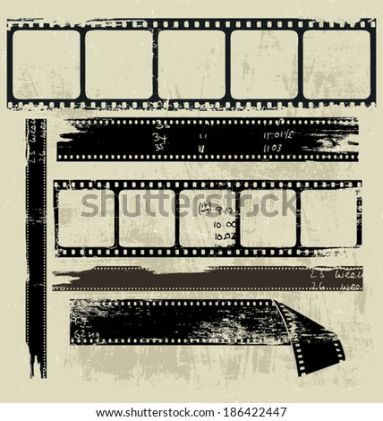 A group of old filmstrip pieces  - stock vector