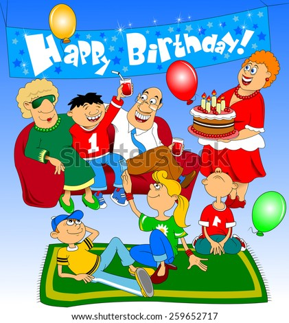 A group of people came to congratulate the little boy on his birthday - stock vector