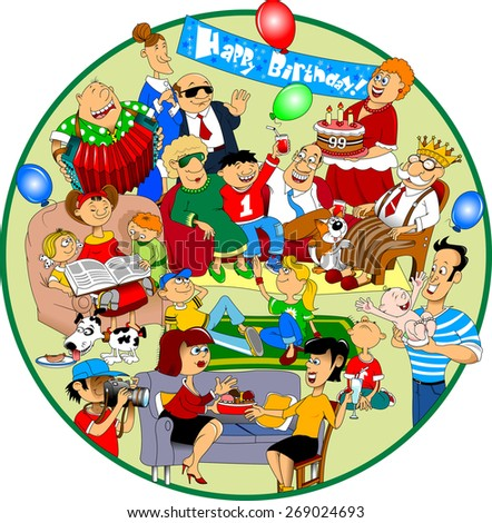 A group of people came to congratulate the old man on his birthday - stock vector