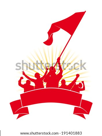 a group of people protesting poses vector illustration - stock vector