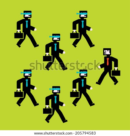 A group of people walking in the same direction and just one person walking in the opposite direction. - stock vector