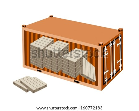 A Group of Shipping Pallets in Orange Cargo Container, Freight Container or Shipping Container, Ready for Shipment.  - stock vector