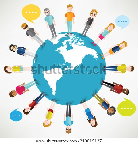 A group of social people gather together on earth vector design - stock vector