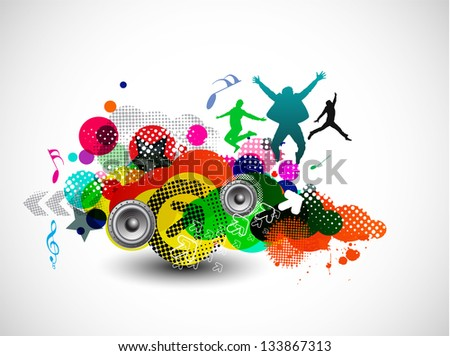 A group of very happy people isolated on white music background. - stock vector