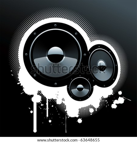 A grunge composition with speakers. - stock vector