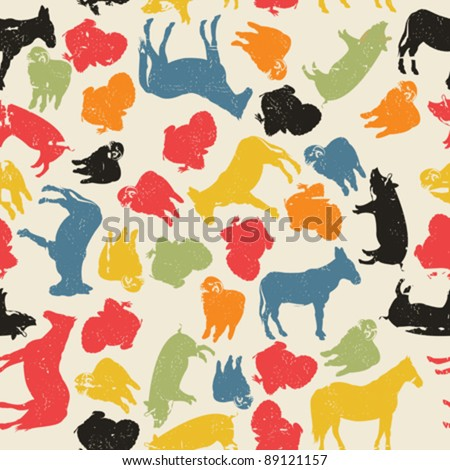 A grunge farm animals seamless pattern, abstract art - stock vector