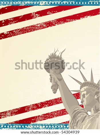 A grunge poster with the statue of liberty - stock vector