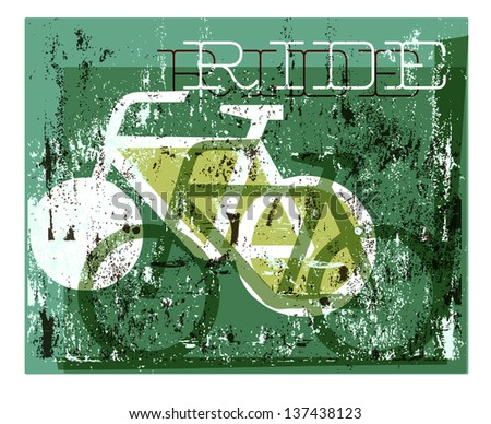A grunge style cycling graphic - stock vector
