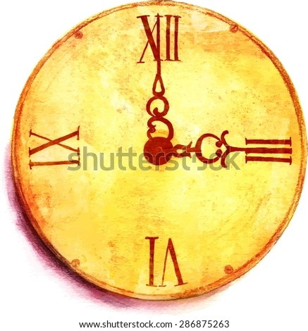 A grunge watercolor drawing of a vintage clock, scalable vector graphic - stock vector