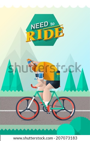 a guy riding a bike on a mountain background, vector illustration - stock vector