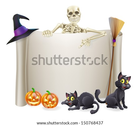 A Halloween scroll sign with a skeleton character above the banner and pumpkins and witch's cats, hat and broomstick - stock vector