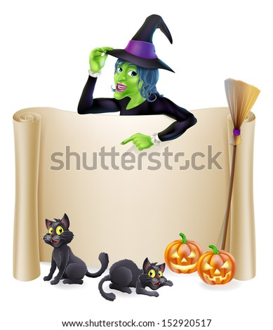 A Halloween scroll sign with a witch character above the banner and pumpkins, witch's cats, hat and broomstick - stock vector