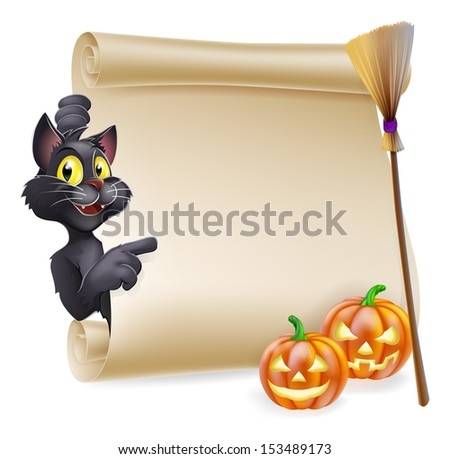 A Halloween scroll with black cat pointing at the scroll sign and carved Halloween pumpkins and witch's broom stick  - stock vector