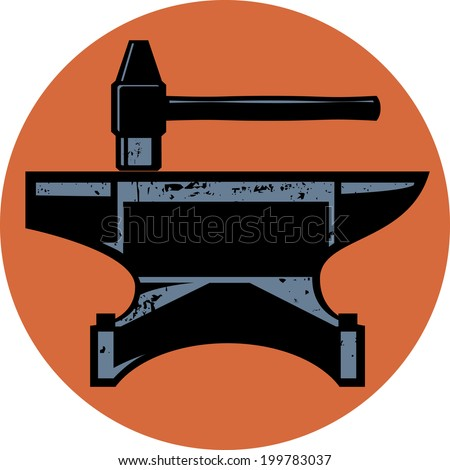 A hammer and anvil iconic design emblem - stock vector