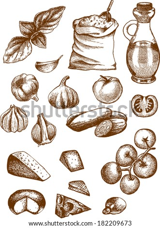 A hand-drawn vector set containing some ingredients for simple pizza. - stock vector