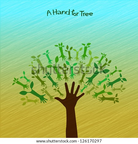 A hand for tree - stock vector