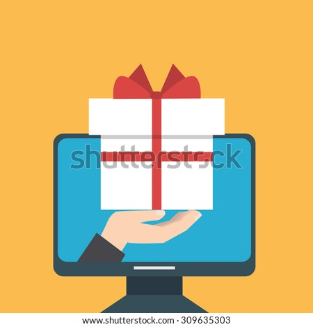A hand giving a gift from a computer as an online concept.  - stock vector