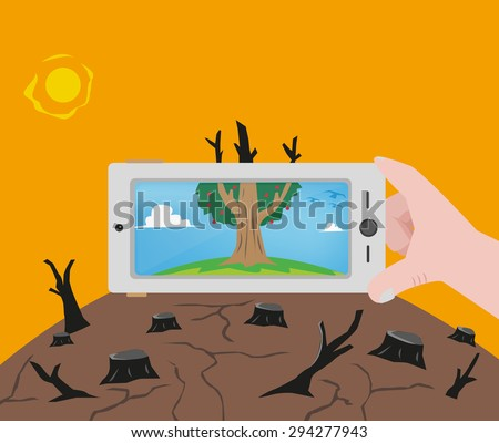 A Hand holding a phone camera with a photo of nature before its destruction. Editable Clip Art. - stock vector