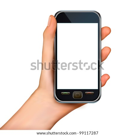 A hand holding smartphone with blank screen. Vector - stock vector