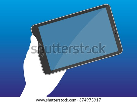 A hand holds a tablet pc with a blank display. Wireless and mobile communication technology. Vector illustration - stock vector