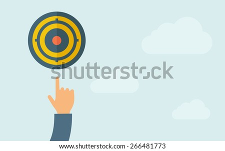 A hand, pointing the target pad icon. A contemporary style with pastel palette, light blue cloudy sky background. Vector flat design illustration. Horizontal layout with text space on right part. - stock vector
