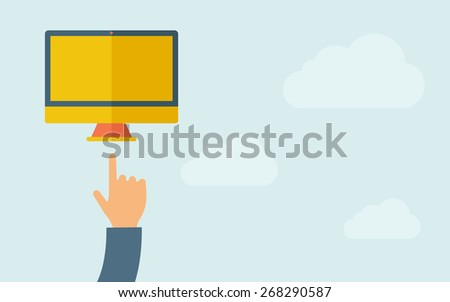 A hand pointing to monitor with blank screen. A contemporary style with pastel palette, light blue cloudy sky background. Vector flat design illustration. Horizontal layout with text space on right - stock vector