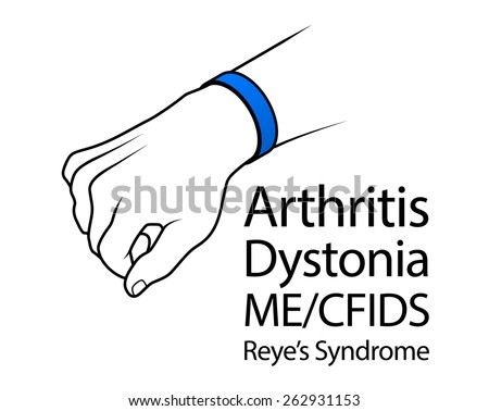 A hand with a cause bracelet. Blue, Arthritis, Dystonia, ME/CFIDS, Reye'??s Syndrome. - stock vector