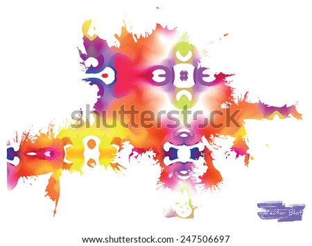 A handmade blot/blob with bright multicolored stains - stock vector