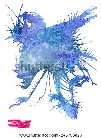 A handmade blot/blob with vector watercolor grunge texture - stock vector