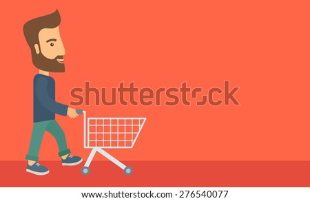 A handsome guy pushing an empty cart. A Contemporary style with pastel palette, soft orange tinted background. Vector flat design illustration. Horizontal layout with text space in right side. - stock vector