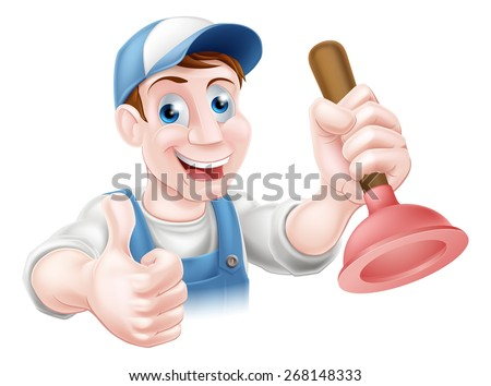 A handyman or plumber holding a sink or toilet plunger and doing a thumbs up - stock vector