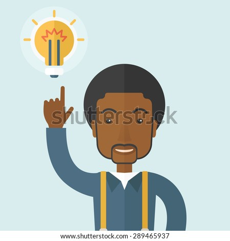 A happy black guy raising his hand pointing the bulb having a good idea for business. Business concept. A Contemporary style with pastel palette, soft blue tinted background. Vector flat design - stock vector