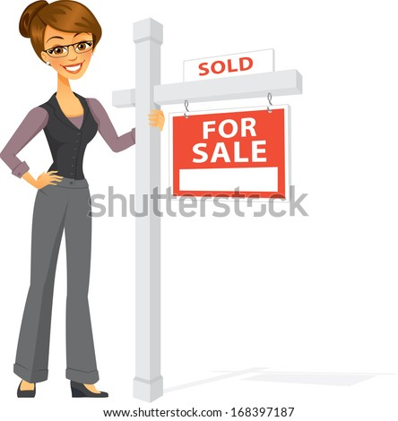 A Happy Carton Real Estate Agent smiles next to a large sold sign. Successful real estate sales concept. - stock vector